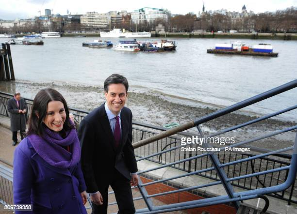 Labour leader Ed Miliband arrives at the Oxo Tower in London with Shadow Chief Secretary to the Treasury Rachel Reeves where he delivered a speech on...