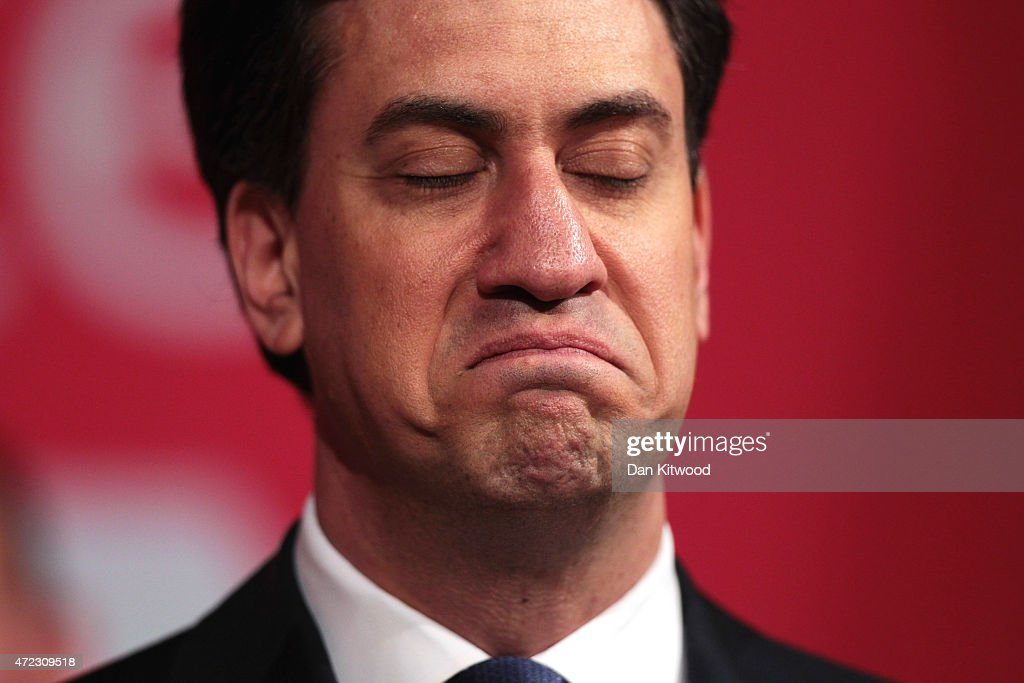 Labour leader Ed Miliband attends a campaign rally at the Muni Theatre on May 6, 2015 in Colne, England. Britain's political leaders are campaigning in a final day's push for votes ahead of what is predicted to be the closest General Election for a generation.