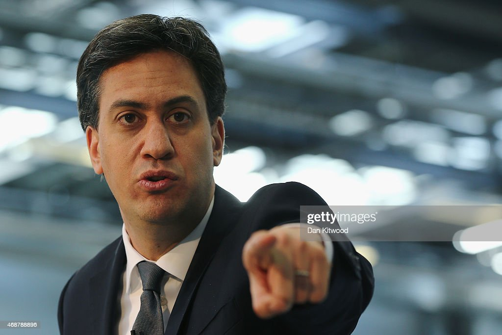 Labour leader <a gi-track='captionPersonalityLinkClicked' href=/galleries/search?phrase=Ed+Miliband&family=editorial&specificpeople=4376337 ng-click='$event.stopPropagation()'>Ed Miliband</a> conducts a workplace Q&A session at the NCC, National Composite Centre on April 7, 2015 in Bristol, United Kingdom. Britain goes to the polls for a general election on May 7.