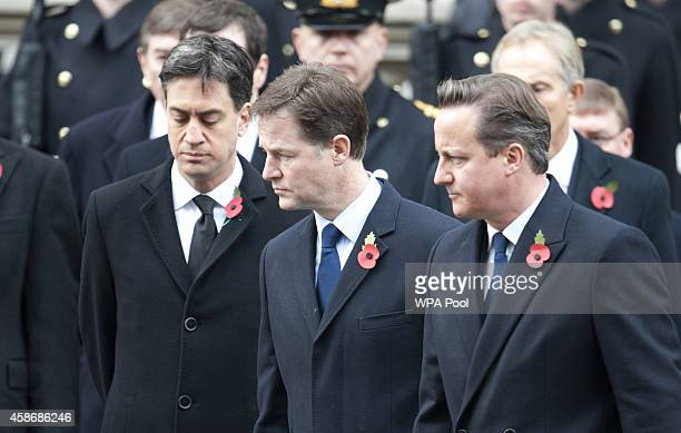 Labour leader Ed Miliband Deputy Prime Minister Nick Clegg and Prime Minister David Cameron attend the annual Remembrance Sunday Service at the...