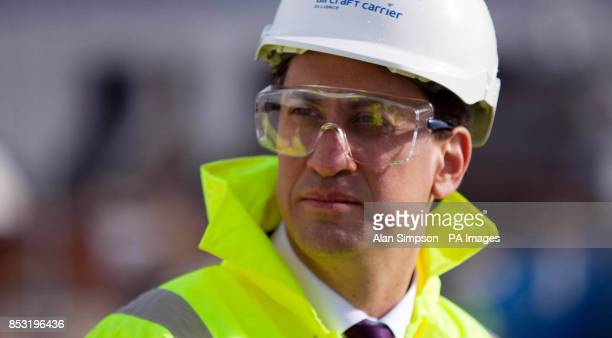 Labour leader Ed Miliband during a visit to the Rosyth Dockyard Dunfermline