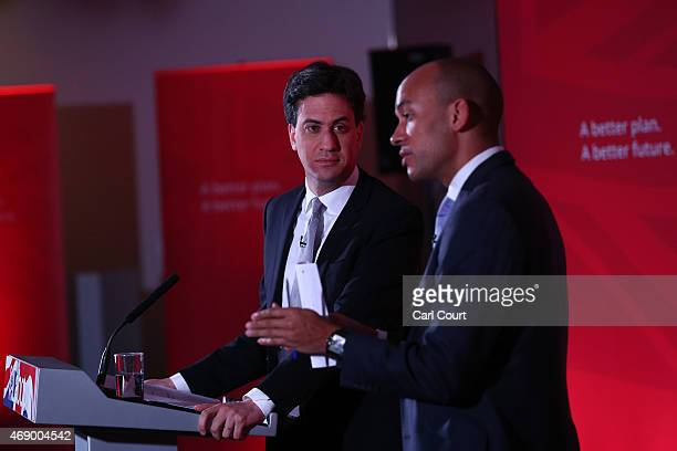 Labour leader Ed Miliband listens to Business Innovation and Skills spokesman Chuka Umunna as they launch the party's education manifesto on April 9...