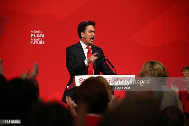 Labour leader Ed Miliband makes a speech on May 1 2015 in Glasgow Scotland Mr Miliband urged people not to vote SNP as campaigning is continuing by...
