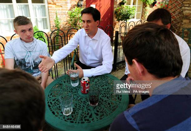Labour Leader Ed Miliband meets members of the public at the Tasty Bites cafe at Thrapston Northamptonshire as he launched Labour's byelection...