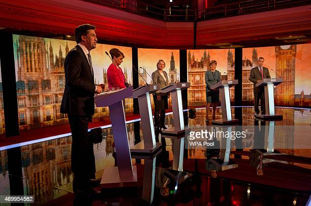 Labour leader Ed Miliband Plaid Cymru leader Leanne Wood Green Party Leader Natalie Bennett SNP leader Nicola Sturgeon and UKIP leader Nigel Farage...