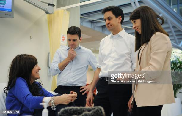 Labour leader Ed Miliband shadow health minister Liz Kendall and shadow health secretary Andy Burnham meet patients at the Macmillan Cancer Centre...