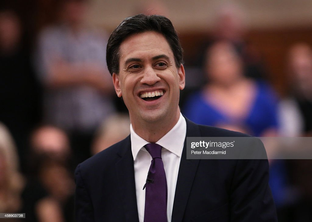 Labour Leader <a gi-track='captionPersonalityLinkClicked' href=/galleries/search?phrase=Ed+Miliband&family=editorial&specificpeople=4376337 ng-click='$event.stopPropagation()'>Ed Miliband</a> smiles as he speaks to supporters at Senate House on November 13, 2014 in London, England. Mr Miliband's leadership has been criticised from some members of his own party recently.