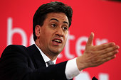 Labour leader Ed Miliband speaks to party supporters during a rally at the Addison Centre in Kempston on May 5 2015 in Bedford England Campaigning is...