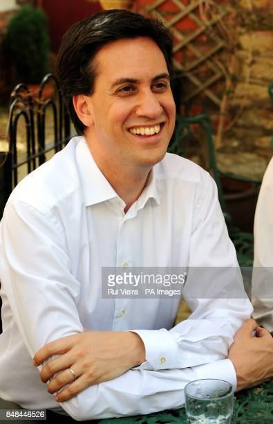 Labour Leader Ed Miliband Tasty Bites cafe Thrapston Northamptonshire to launch Labour's byelection campaign for Andy Sawford Labour's PPC for Corby