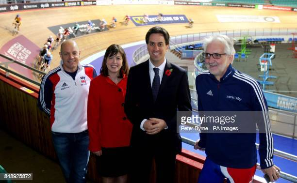Labour leader Ed Miliband visits Manchester's National Cycling Centre with Lucy Powell Labour's parlimentary candidate for Manchester Central with...