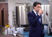Labour leader Ed Miliband visits the Five Points Brewing Company in Hackney east London after making a speech about banking and the economy in the...