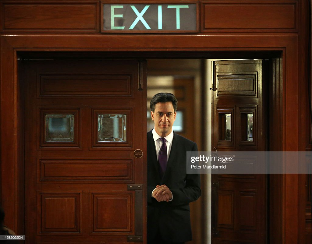 Labour Leader <a gi-track='captionPersonalityLinkClicked' href=/galleries/search?phrase=Ed+Miliband&family=editorial&specificpeople=4376337 ng-click='$event.stopPropagation()'>Ed Miliband</a> waits to enter the hall to address supporters on November 13, 2014 in London, England. Mr Miliband's leadership has been criticised from some members of his own party recently.
