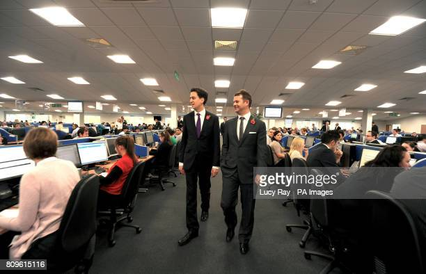 Labour Leader Ed Miliband with Daisy Group CEO Matthew Riley as he visited the headquarters of the Daisy Group in Nelson Lancashire ahead of Labour's...