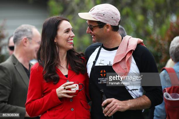 Labour Leader Jacinda Ardern and her partner Clarke Gayford host a bbq at their house on September 24 2017 in Auckland New Zealand New Zealand's...