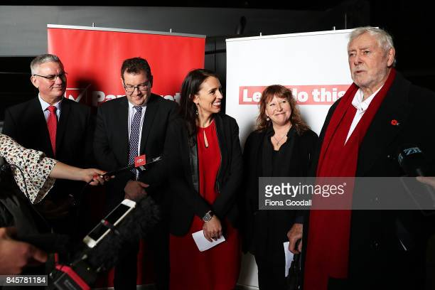 Labour leader Jacinda Ardern is introduced by former Waitakere City Mayor Sir Bob Harvey at Auckland Film Studios in Henderson with deputy leader...