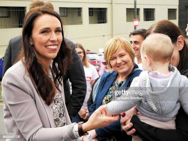 Labour Leader Jacinda Ardern is seen during an election rally on September 19 2017 in Wellington New Zealand Voters cast their ballots on September 23