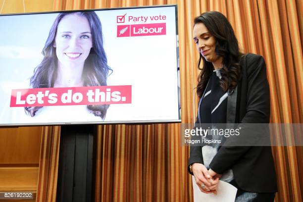 Labour leader Jacinda Ardern looks on during a media conference revealing Labour's new campaign slogan at Parliament on August 4 2017 in Wellington...