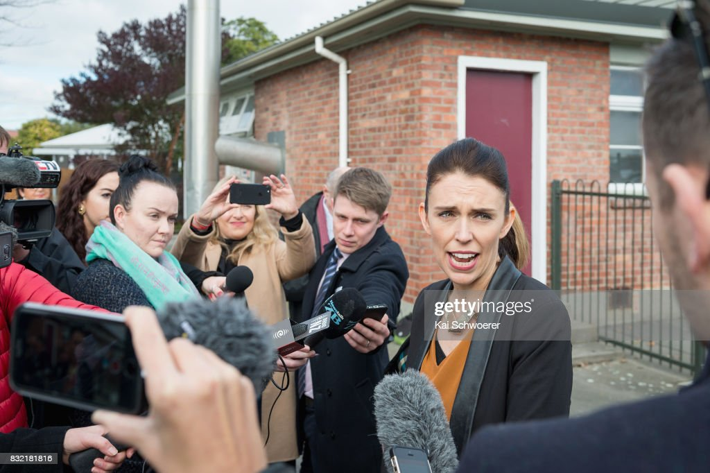 Labour Leader Jacinda Ardern makes a policy announcement at Addington Primary School on August 16, 2017 in Christchurch, New Zealand. The Labour party has pledged $10 million towards mental health support to support children in Canterbury and Kaikoura overcome the trauma of earthquakes, with plans to fund an extra 80 mental health professionals over the next three years who will work in all public primary and intermediate schools.
