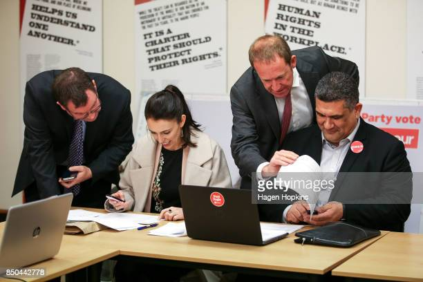 Labour leader Jacinda Ardern makes calles with Rongotai candidate Paul Eagle along with MPs Grant Robertson and Andrew Little during a visit to...