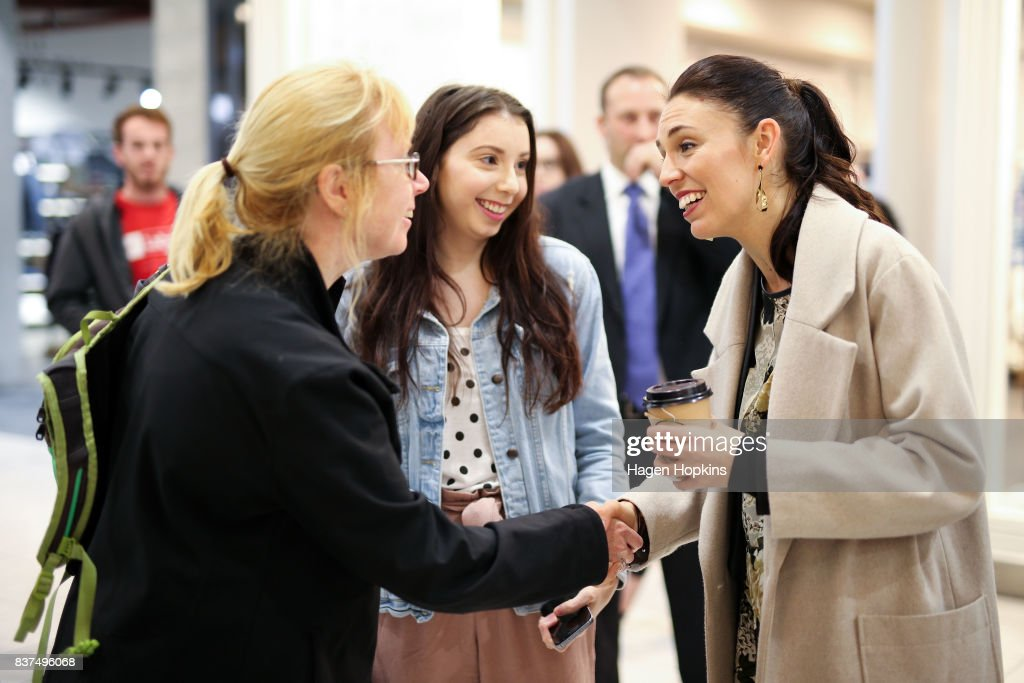 Labour leader Jacinda Ardern meets a supporter during a visit to The Plaza Shopping Centre on August 23, 2017 in Palmerston North, New Zealand. Ardern announced that Labour will build 149 homes in Palmerston North, a mix of KiwiBuild starter homes for first homebuyers and state houses, to help tackle home affordability and homelessness.