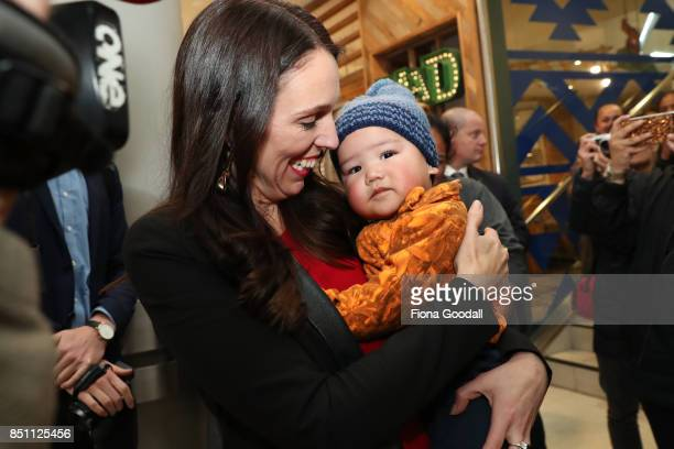 Labour leader Jacinda Ardern meets locals at Westfield Manukau City on September 22 2017 in Auckland New Zealand Voters head to the polls on Saturday...