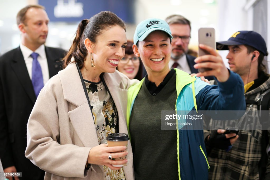 Labour leader Jacinda Ardern poses for a photo during a visit to The Plaza Shopping Centre on August 23, 2017 in Palmerston North, New Zealand. Ardern announced that Labour will build 149 homes in Palmerston North, a mix of KiwiBuild starter homes for first homebuyers and state houses, to help tackle home affordability and homelessness.
