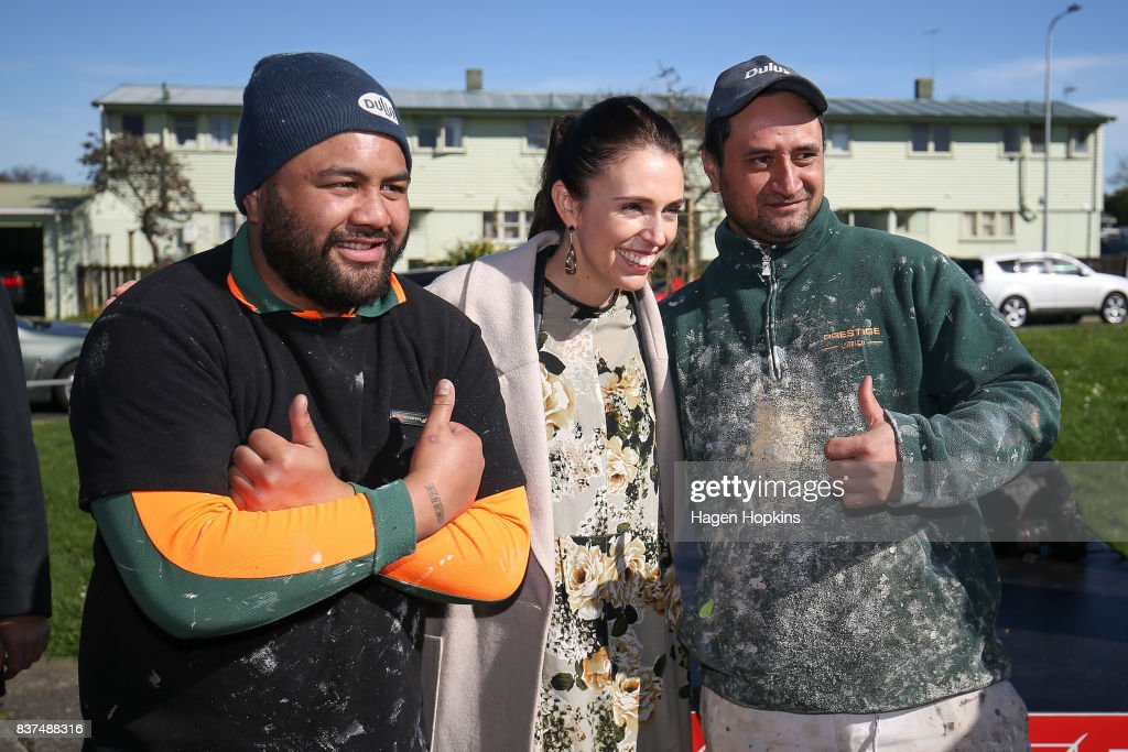 Labour leader Jacinda Ardern poses for a photo with supporters during a housing announcement at Farnham Park on August 23, 2017 in Palmerston North, New Zealand. Ardern announced that Labour will build 149 homes in Palmerston North, a mix of KiwiBuild starter homes for first homebuyers and state houses, to help tackle home affordability and homelessness.