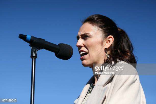 Labour leader Jacinda Ardern speaks during a housing announcement at Farnham Park on August 23 2017 in Palmerston North New Zealand Ardern announced...