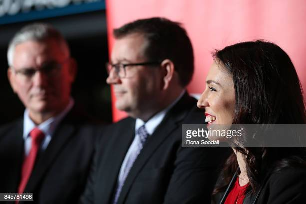 Labour leader Jacinda Ardern speaks to media at Auckland Film Studios in Henderson with deputy leader Kelvin Davis and Labour's finance spokesperson...