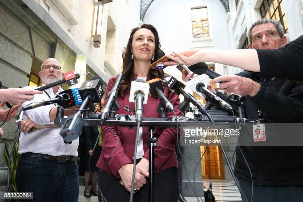 Labour leader Jacinda Ardern speaks to media during an announcement for Labour's new provisional caucus members at Parliament on September 25 2017 in...
