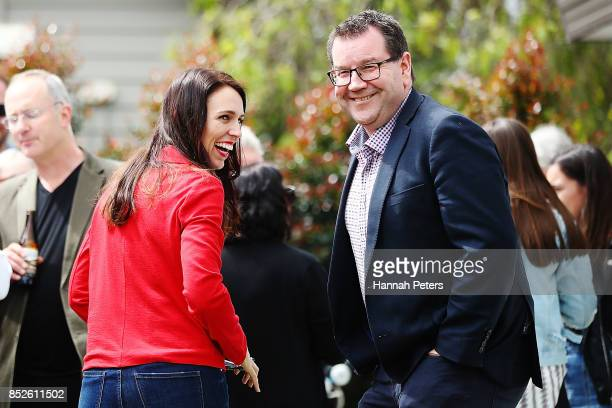 Labour Leader Jacinda Ardern talks with Labour Party MP Grant Robertson at her house on September 24 2017 in Auckland New Zealand New Zealand's...