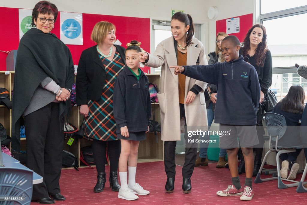 Labour Leader Jacinda Ardern talks with students at Addington Primary School on August 16, 2017 in Christchurch, New Zealand. The Labour party has pledged $10 million towards mental health support to support children in Canterbury and Kaikoura overcome the trauma of earthquakes, with plans to fund an extra 80 mental health professionals over the next three years who will work in all public primary and intermediate schools.