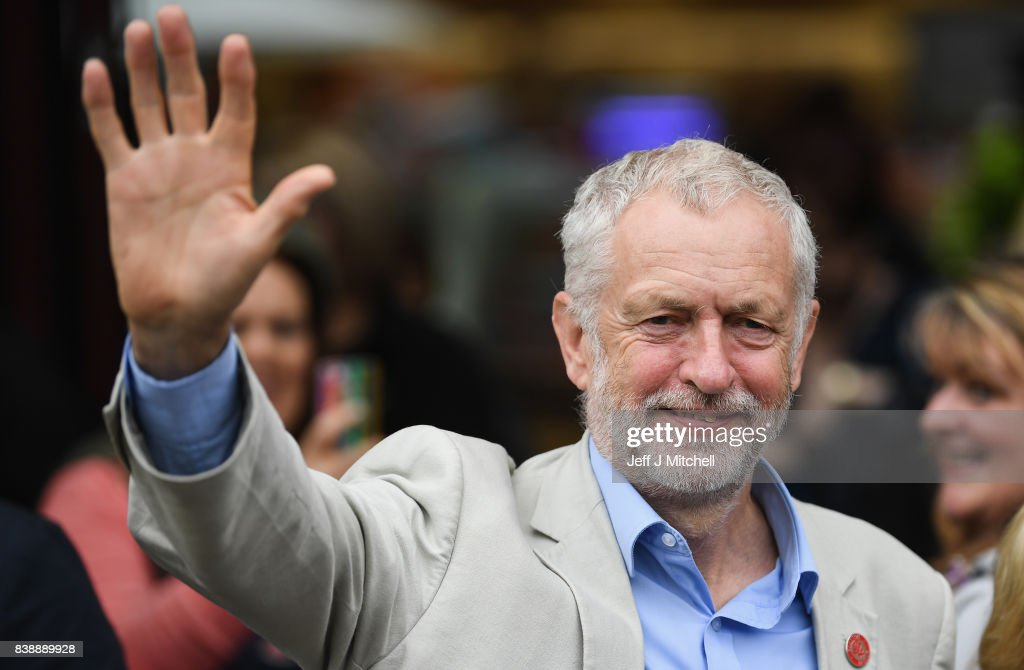 Labour leader Jeremy Corby addresses a public rally at the Quadrant shopping centre on August 25, 2017 in Coatbridge, Scotland. Mr Corbyn is on a five day trip to Scotland visiting marginal constituencies.