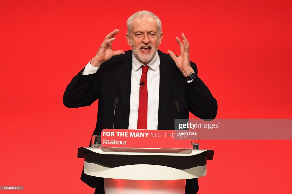 Labour Leader Jeremy Corbyn addresses delegates on the final day of the Labour Party conference on September 26, 2017 in Brighton, England. Mr Corbyn is expected to speak about his party's new policies and present Labour as a government in waiting in his keynote address.