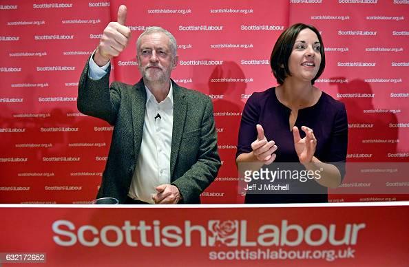 Labour leader Jeremy Corbyn addresses party activists as Kezia Dugdale Scottish Labour Party leader looks on at a Scottish Labour Party event at the...