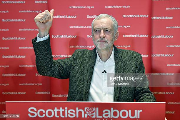 Labour leader Jeremy Corbyn addresses party activists at a Scottish Labour Party event at the City Halls on January 20 2017 in Glasgow United Kingdom...