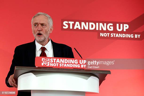 Labour leader Jeremy Corbyn addresses supporters and members of the media as he launches his party's local election campaign on April 5 2016 in...