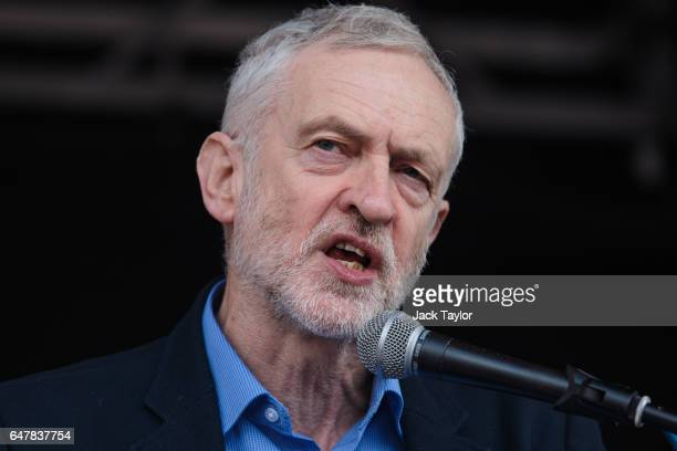 Labour Leader Jeremy Corbyn addresses thousands of protesters in Parliament Square during a demonstration in support of the NHS on March 4 2017 in...