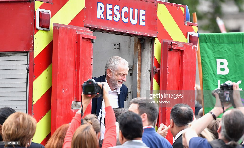 Labour leader <a gi-track='captionPersonalityLinkClicked' href=/galleries/search?phrase=Jeremy+Corbyn&family=editorial&specificpeople=2596361 ng-click='$event.stopPropagation()'>Jeremy Corbyn</a> after delivering a speech during Momentum's 'Keep Corbyn' rally outside the Houses of Parliament on June 27, 2016 in London, England. The Labour Leader has seen mass resignations from the Shadow Cabinet in the wake of the UK Vote for Brexit. His support group, Momentum, have recorded more than 1000 new members in the same period.