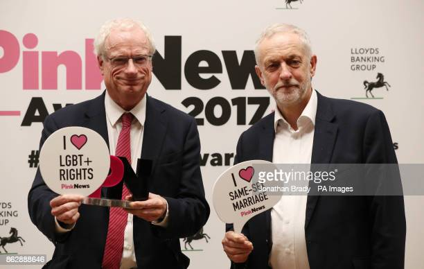 Labour leader Jeremy Corbyn and Chris Smith during the the PinkNews awards dinner at One Great George Street in London