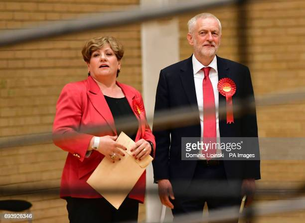 Labour leader Jeremy Corbyn and Emily Thornberry at the Sobell Leisure Centre in Islington north London where counting is taking place for the...