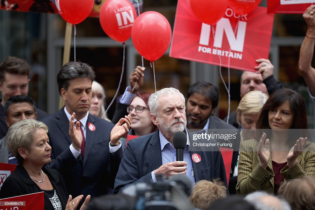 Labour Leader <a gi-track='captionPersonalityLinkClicked' href=/galleries/search?phrase=Jeremy+Corbyn&family=editorial&specificpeople=2596361 ng-click='$event.stopPropagation()'>Jeremy Corbyn</a> and former leader <a gi-track='captionPersonalityLinkClicked' href=/galleries/search?phrase=Ed+Miliband&family=editorial&specificpeople=4376337 ng-click='$event.stopPropagation()'>Ed Miliband</a> (L) address supporters and members of the public in Doncaster town centre on May 27, 2016 in Doncaster, England. The Labour In campaign battle bus arrived in Doncaster today with Labour leader <a gi-track='captionPersonalityLinkClicked' href=/galleries/search?phrase=Jeremy+Corbyn&family=editorial&specificpeople=2596361 ng-click='$event.stopPropagation()'>Jeremy Corbyn</a> and <a gi-track='captionPersonalityLinkClicked' href=/galleries/search?phrase=Ed+Miliband&family=editorial&specificpeople=4376337 ng-click='$event.stopPropagation()'>Ed Miliband</a> MP to canvass for votes and hope to persuade UK citizens to stay in the European Union when they vote in the EU Referendum on the June 23.