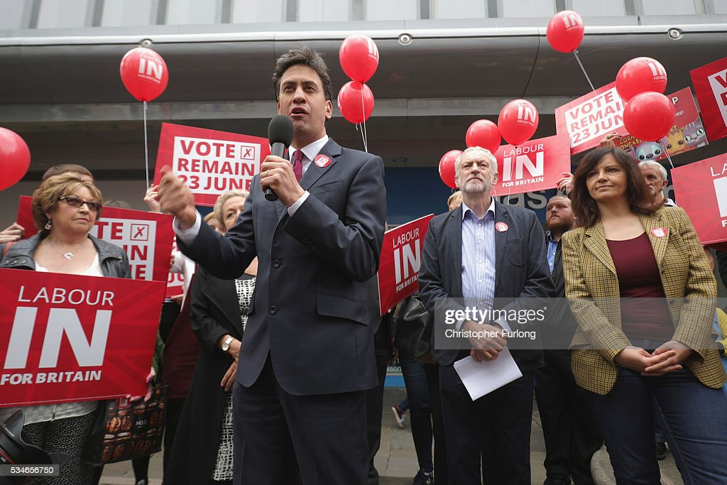 Labour Leader Jeremy Corbyn and former leader Ed Miliband (L) address supporters and members of the public in Doncaster town centre on May 27, 2016 in Doncaster, England. The Labour In campaign battle bus arrived in Doncaster today with Labour leader Jeremy Corbyn and Ed Miliband MP to canvass for votes and hope to persuade UK citizens to stay in the European Union when they vote in the EU Referendum on the June 23.