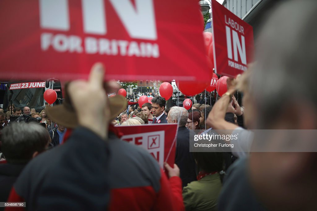 Labour Leader <a gi-track='captionPersonalityLinkClicked' href=/galleries/search?phrase=Jeremy+Corbyn&family=editorial&specificpeople=2596361 ng-click='$event.stopPropagation()'>Jeremy Corbyn</a> and former leader <a gi-track='captionPersonalityLinkClicked' href=/galleries/search?phrase=Ed+Miliband&family=editorial&specificpeople=4376337 ng-click='$event.stopPropagation()'>Ed Miliband</a> address supporters and members of the public in Doncaster town centre on May 27, 2016 in Doncaster, England. The Labour In campaign battle bus arrived in Doncaster today with Labour leader <a gi-track='captionPersonalityLinkClicked' href=/galleries/search?phrase=Jeremy+Corbyn&family=editorial&specificpeople=2596361 ng-click='$event.stopPropagation()'>Jeremy Corbyn</a> and <a gi-track='captionPersonalityLinkClicked' href=/galleries/search?phrase=Ed+Miliband&family=editorial&specificpeople=4376337 ng-click='$event.stopPropagation()'>Ed Miliband</a> MP to canvass for votes and hope to persuade UK citizens to stay in the European Union when they vote in the EU Referendum on the June 23.