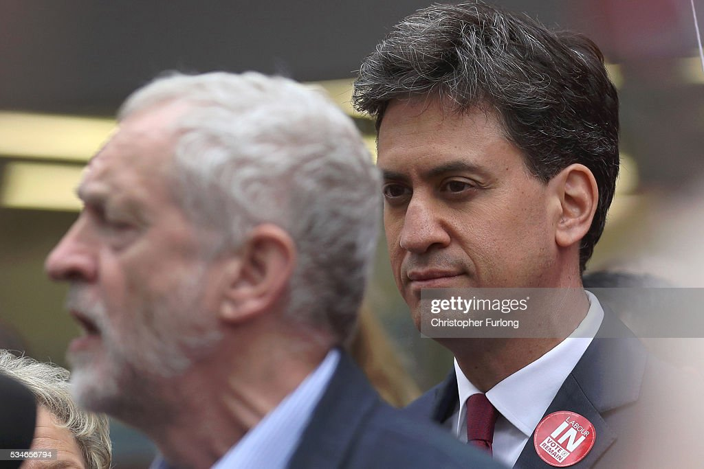 Labour Leader <a gi-track='captionPersonalityLinkClicked' href=/galleries/search?phrase=Jeremy+Corbyn&family=editorial&specificpeople=2596361 ng-click='$event.stopPropagation()'>Jeremy Corbyn</a> and former leader <a gi-track='captionPersonalityLinkClicked' href=/galleries/search?phrase=Ed+Miliband&family=editorial&specificpeople=4376337 ng-click='$event.stopPropagation()'>Ed Miliband</a> (R) address supporters and members of the public in Doncaster town centre on May 27, 2016 in Doncaster, England. The Labour In campaign battle bus arrived in Doncaster today with Labour leader <a gi-track='captionPersonalityLinkClicked' href=/galleries/search?phrase=Jeremy+Corbyn&family=editorial&specificpeople=2596361 ng-click='$event.stopPropagation()'>Jeremy Corbyn</a> and <a gi-track='captionPersonalityLinkClicked' href=/galleries/search?phrase=Ed+Miliband&family=editorial&specificpeople=4376337 ng-click='$event.stopPropagation()'>Ed Miliband</a> MP to canvass for votes and hope to persuade UK citizens to stay in the European Union when they vote in the EU Referendum on the June 23.
