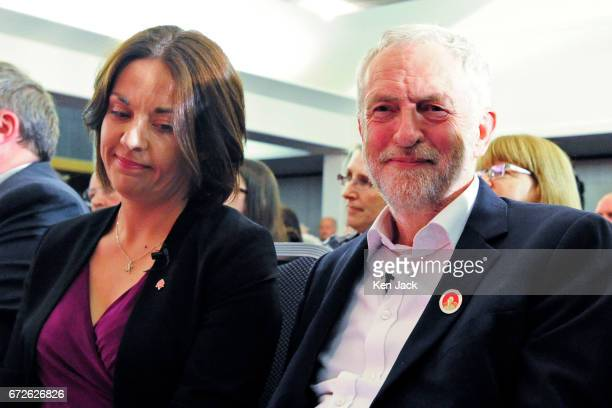 Labour leader Jeremy Corbyn and Scottish Labour leader Kezia Dugdale sit together in the audience before making general election campaign speeches at...