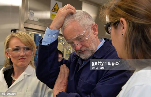 Labour leader Jeremy Corbyn and Shadow Business Secretary Rebecca LongBailey meet laboratory staff during a tour of the Innovation Centre on June 2...
