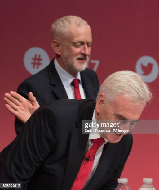 Labour leader Jeremy Corbyn and shadow chancellor John McDonnell at the Labour Party annual conference at the Brighton Centre Brighton