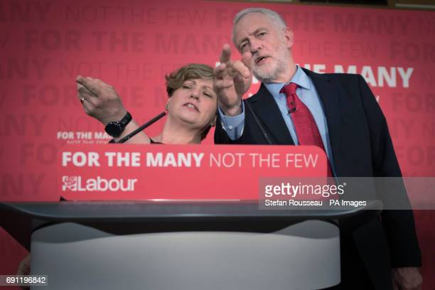 Labour leader Jeremy Corbyn and Shadow Foreign Secretary Emily Thornberry answer questions from the media after delivering a speech on Brexit at the...