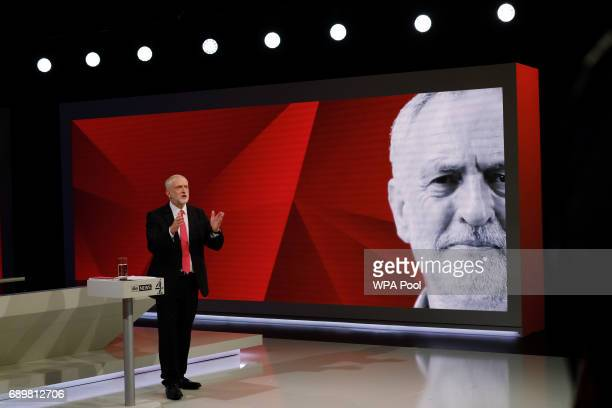 Labour leader Jeremy Corbyn answers questions from the studio audience during a joint Channel 4 and Sky News general election programme 'May v Corbyn...